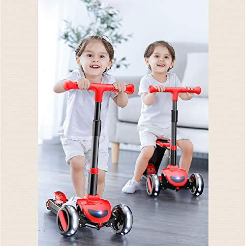 SDSPEED 2-in-1 Kick Scooter and Balance Bike for Kids with Folding Seat - Adjustable Height and Camber Toddlers Girl & Boys - Safe Mode Limited Steering Angle Safe Design (RED)