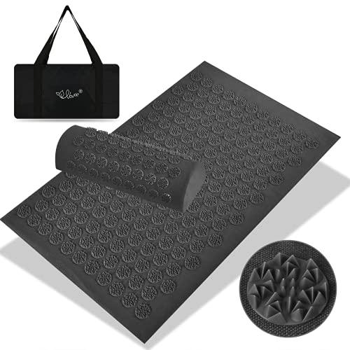VOVOIR - Esterilla de acupresión y juego de almohadas para acupuntura, esterilla de masaje para aliviar el dolor de espalda, cervicales y relajación muscular (gris oscuro)