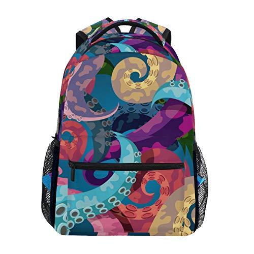 WowPrint Bunt Ozean Tier Octopus Druck Rucksack Büchertasche Schulrucksäcke Rucksack Wandern Daypack für Mädchen Kinder Jungen Damen Herren Unisex
