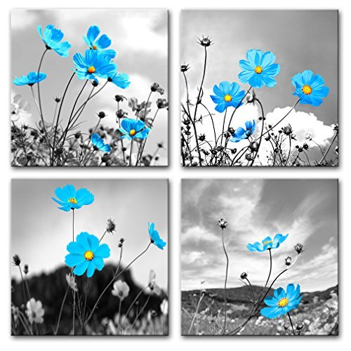 White And Blue Flower Painting Amazon