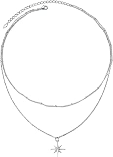 Layered Choker Necklace S925 Sterling Silver Star Full Moon Pendant Disc Jewelry Adjustable Lariat Necklaces for Women Gir...