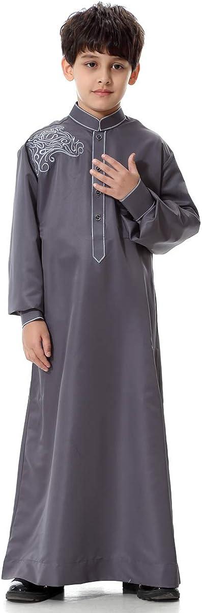 HANYIMIDOO Boy's Muslim Arab Long Sleeves Mandarin Neck Robe