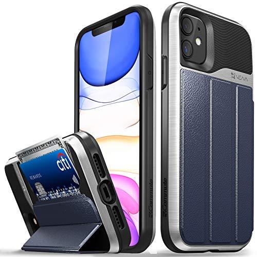 VENA Funda Cartera para iPhone 11, vCommute (Military Grade, Ranuras para Tarjetas) Carcasa de Cuero Case con Función de Soporte para Apple iPhone 11 (6.1'-Inch) - Plata/Azul/Negro