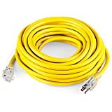 SIMBR 12/3 25 FT Extension Cord Outdoor, Heavy Duty Electrical Cord 12 Gauge Lighted, 15 Amps, 1875 Watts, UL Listed, SJTW, Yellow - Power Your Household, Office and Garden Electric Appliances