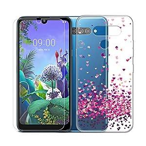 SCDMY para LG Q60 Funda + Cristal Templado, Transparente Silicona Carcasa, Fuerte protección de Suave TPU Funda Case Carcasa y HD Cristal Templado para LG Q60 (6.26