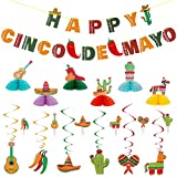 43PCS Cinco de Mayo Party Supplies, Mexican Party Decoration Hanging Swirls and Banner Pack Honeybomb Table Decoration Fiesta Decor Supplies for Taco Tout a Party, Baby Shower, Bachelorette Carnivals
