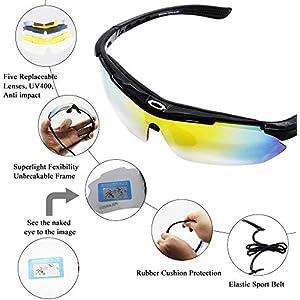 Aiooy Gafas De Sol Polarizadas,Gafas de Sol Deportivas,con 5 Lentes Intercambiables UV400 Protección Antivaho Antireflejo Anti Viento,Correr Golf Beisbol Surf Conducción Esquiando UV400 Protección