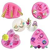 Mini Unicorn Stampo in Silicone, Unicorno Corno Orecchie Arcobaleno Fiori e foglie, Cupcake Toppers Stampo cioccolato fondente per Unicorno Tema Party e Compleanno per bambini