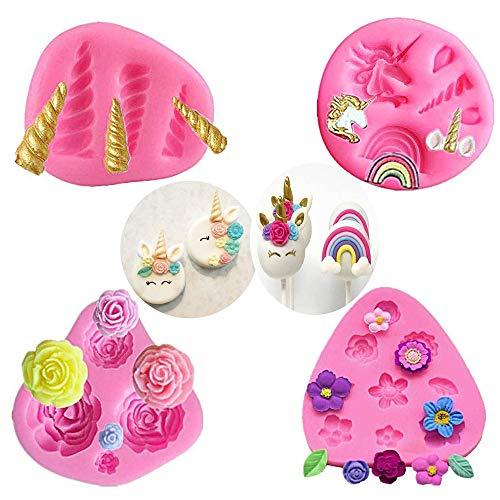 Mini-Einhornform, Einhorn Ohren Horn Rainbow Blumen und Blatt, Silikon Kuchen Fondantform Set, Cupcake Toppers Fondant Schokoladenform für Einhorn Theme Party und Kindergeburtstag (4er Set)