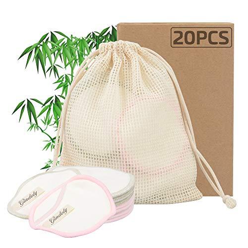 Gindoly 20 Pcs Discos Desmaquillantes Reutilizables del Fibra de Bamb¨² Lavables Almohadillas Maquillaje Desmaquillante Facial para Todo Tipo de Pieles con Bolsa de Lavado