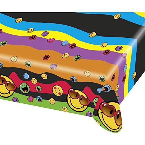NET TOYS Nappe en Plastique Smiley Toile cirée émoticône 120 cm x 180 cm Linge de Table de fête à Motifs décoration de Diner émoji goûter d'enfant Accessoire d'anniversaire pour Enfants