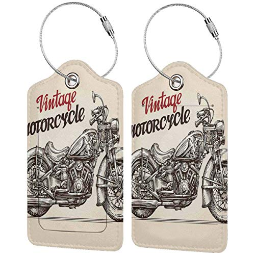 NOLYXICI Etiquetas para Equipaje,Bicicleta Estilo Chopper Dibujada a Mano con Detalles de bocetos Spirit of The Rider Gratis,4 Piezas Etiquetas de Equipaje de Viaje de la Maleta para Maletas,Mochila