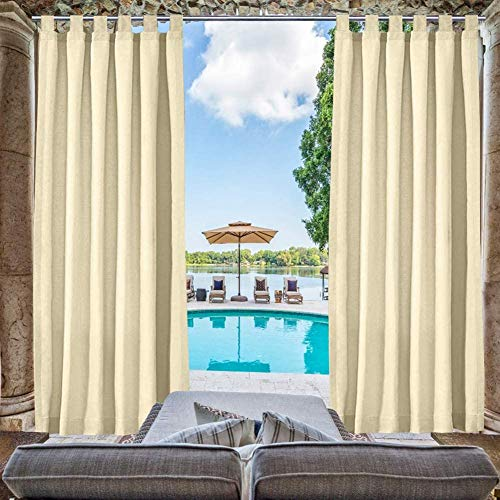 """Pro Space Outdoor Curtains Panel - Privacy Fabric Tab Top Window Curtain for Pergola/ Patio/Balcony - Easily Hang on, 50"""" W x 120"""" L, Beige"""