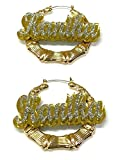 Personalized Custom Gold Hoop Bamboo Earrings Name Plate Laser Cut Design Stunning Look - Quality, Attractive Gold Bamboo Earrings, Made To Order - 2.5 INCHES size