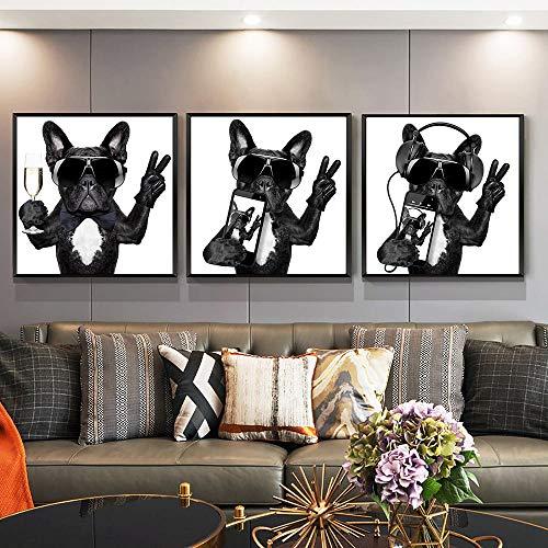 Canvas Dogs Listen Music Pose V Gesture Canvas Poster Pintura Arte de la pared Impresión Nursury Decoración de la habitación de los niños Regalos de cumpleaños para niños | 40x40cmx3Pcs (Sin marco)