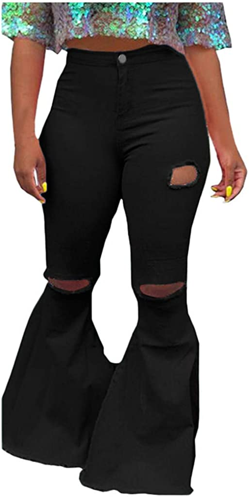 VEKDONE Women Oversized Skinny Ripped Bell Bottom Jeans Plus Size High Waist Bootcut Classic Flared Jean Pants