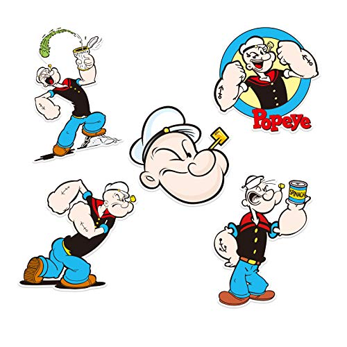 BUCUO Popeye - Pegatinas para Maletas con Espinacas, Pegatinas Personalizadas para Maletas con Ruedas para Ordenador portátil, Impermeables
