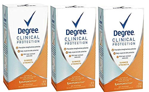 DEGREE DEGREE clinical protection summer strength antiperspirant deodorant, 1.7 oz (pack of 3), 1.7 Ounce