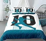 Juego de funda de edredón para cama doble, diseño de patrón artístico, ultra suave, antialérgico, no necesita planchado, ropa de cama de microfibra de lujo - No.10Maradona - Doble 200 x 200 cm