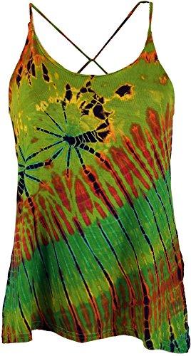 Guru-Shop Batik Hippie Top, Damen, Grün, Synthetisch, Size:38, Tops & T-Shirts Alternative Bekleidung