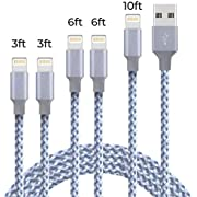 Lightning Cable, NganHing iPhone Charger Cable 5Pack(3ft 3ft 6ft 6ft 10ft) Nylon Braided Fast Charging Cable-Grey