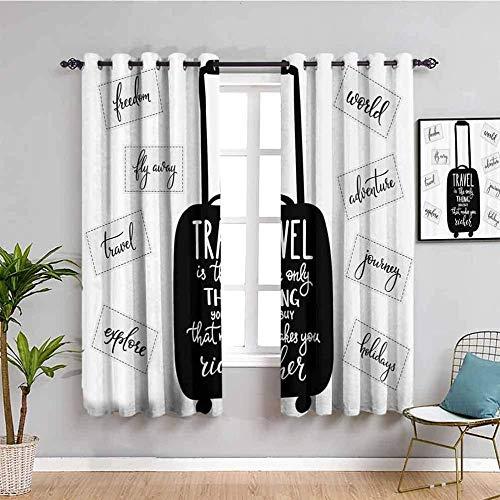 KOEWSN Par De Cortinas Opacas Negro Maleta Simple Letras Cortina Aislante para Salón, Dormitorio, Oficina, Balcón, Puerta Y Ventana, 2 Paneles con Ojales 140x280cm