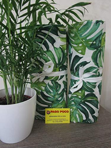 PAGO POCO Mehrzweck-Tagesdecke, Motiv: Palma, 100 % Baumwolle, für Einzelbett und Doppelbett, hergestellt in Italien