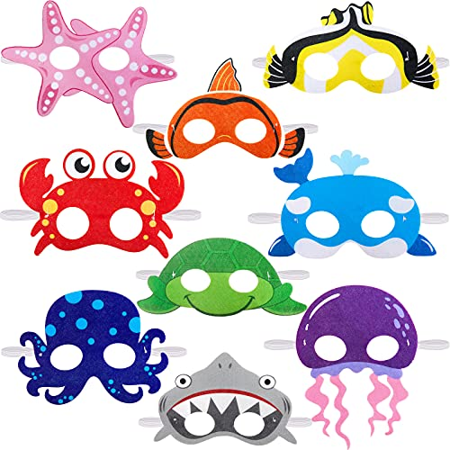 18 Pieces Ocean Animals Felt Masks Sea Animal Masks Shark Octopus Dress-Up Masks Animal Theme Masks for Under The Sea Themed Birthday Halloween Masks Dress-Up Costume Party Supplies