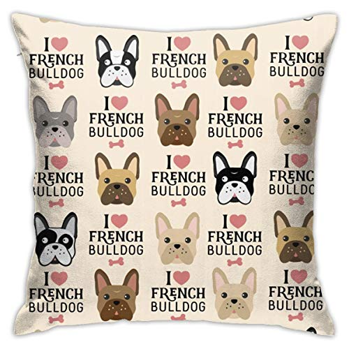 JASMODER I Love French Bulldog Throw Pillow Covers Cushion Case 18 X 18 Inch Cotton Home Decor for Sleeping Couch