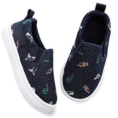 okilol Toddler Boy Shoes Kids Walking Shoes Baby Slip On Sneakers Navy/Dinosaur 7 M US Toddler