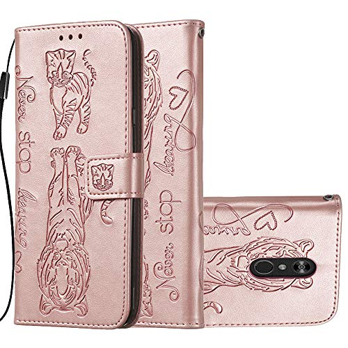 Rosepark LG Stylo 4 Case, LG Stylo 4 Plus Case, LG Q Stylus Case, Cat Tiger Pattern PU Leather Wallet Flip Protective Case with Card Holder Magnetic Closure Compatible with LG Stylo 4 (Rose Gold)