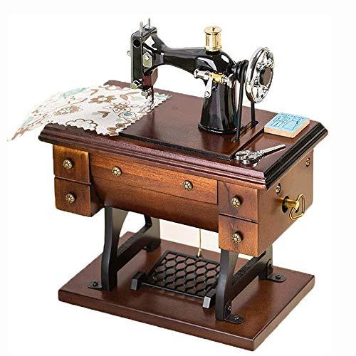 Big Shark Musical naaimachine muziekdoos, vintage mini naaimachine kunst mechanisch verjaardagscadeau tafeldecoratie klassieke muziekbox decoratie verjaardag
