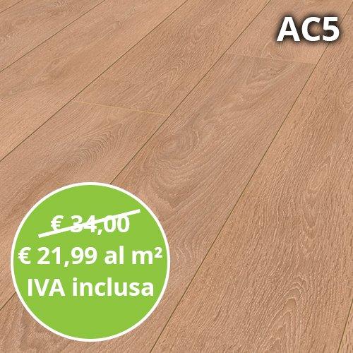 Pavimento in Laminato Rovere Chiaro Spazzolato Confezione Da 1.48 Mq | AC5