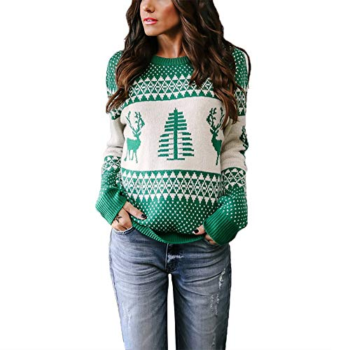 Exlura Patterns Reindeer Ugly Christmas Sweater Pullover Cardigan Green