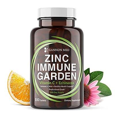 Zinc Immune Garden - Chelated Zinc AAC 50mg - Vitamin C 800mg - Echinacea 600mg per Tablet - 100 Day Supply - Immunity + Skin + Reproductive Health - One a Day Immune Booster - Vegan
