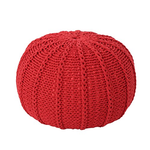 Christopher Knight Home Agatha Knitted Cotton Pouf, Red