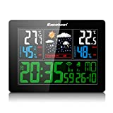 Excelvan Wireless Outdoor Indoor Weather Station Clock with LED Display with External Sensor (Barometer) with Alarm