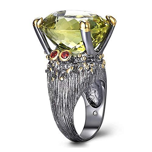 JANEFLY Temperament Big Gemstone Ring, Farbe Intarsien Stein Hellgrün Peridot, Oval, Zirkon Party-Accessoires müssen für Frauen & Mädchen haben,7