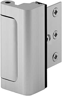 "Defender Security Satin Nickel U 10827 Door Reinforcement Lock – Add Extra, High Security to your Home and Prevent Unauthorized Entry – 3"" Stop, Aluminum Construction Finish, 3"
