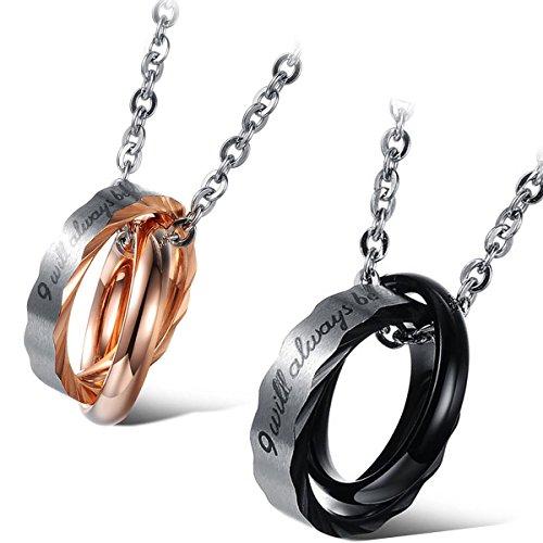 Flongo Partner Anhänger Halskette Freundschaftsketten Kette für 2, Edelstahl Partner Anhänger Halskette BFF Ketten Silber Rose Gold Schwarz mit Gravur Ringen Anhänger