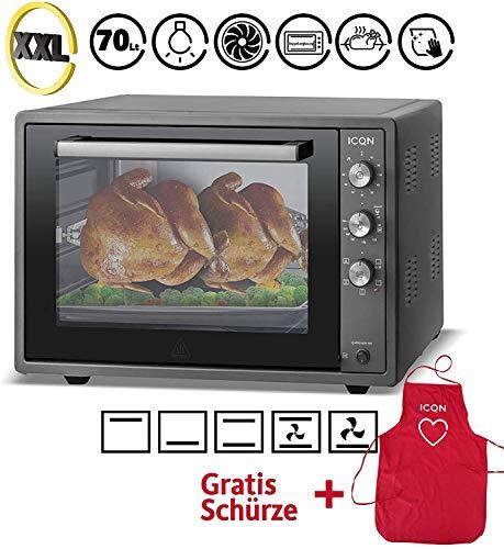 ICQN 70XXL Mini-Öfen | 1800 W | Mini-Backofen mit Innenbeleuchtung und Umluft | Pizza-Ofen | Doppelverglasung | Drehspieß | Timer Funktion | Emailliert Black | Anthrazit | Inkl. Schürze