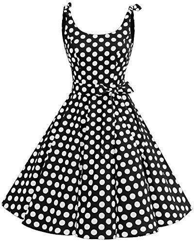 Bbonlinedress 1950er Vintage Polka Dots Pinup Retro Rockabilly Kleid Cocktailkleider Black White Big Dot M