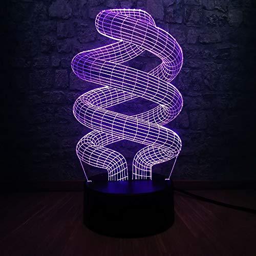 Moda Lampada da tavolo 3D Giocattolo per bambini Lampadina regalo USB LED Illusione del sonno Luce notturna Illuminazione da tavolo da scrivania Illuminazione domestica DNA Decorazione Regalo Dimmer