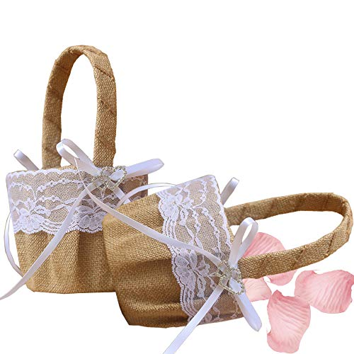 Dzty 2pcs Double Heart Burlap Wedding Flower Girl Basket with Bowknot Rustic Flower Girl Basket…