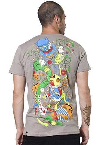Street Habit Camiseta de algodón para Hombre, diseño de Alicia en el País de Las Maravillas - Marrón - Medium
