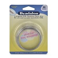 Beadalon Half Round Wire 316L Stainless Steel 20 Gauge, 9-Meter by Beadalon