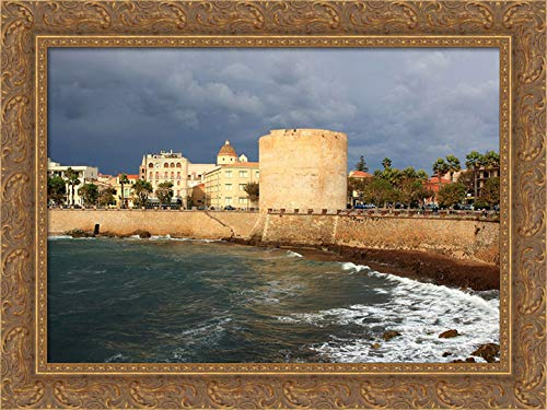 Saiu, Giovanni 40x28 Gold Ornate Framed Canvas Art Print Titled: Alghero-Old-Tower-Italy-Sardinia