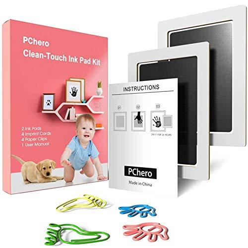 PChero Kit de Huellas Bebé No Tóxicas Almohadillas de Tinta, Perfecto para Regalo de Bebé de Recuerdo Familiar [2 Piezas, Grande]