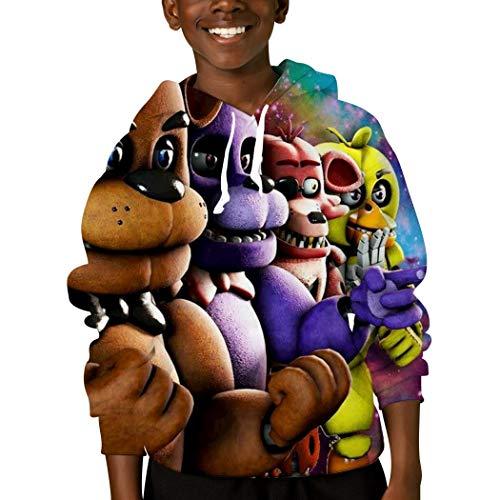 CHDNIO Five Nig-hts by Freddy Kinder Kapuzenpullover Langarm Sweatshirt für Jungen und Mädchen im Alter von 6-16 Jahren Gr. Medium, weiß