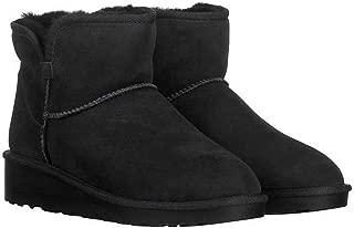 Ladies' Short Shearling Wedge Boot (7, Black)